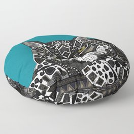 snow leopard teal Floor Pillow