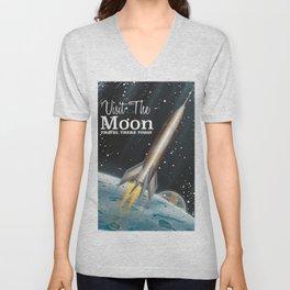 visit the moon vintage science fiction poster Unisex V-Neck
