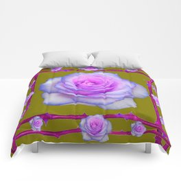PINK-BLUE TINGED ROSES ON KHAKI COLOR Comforters