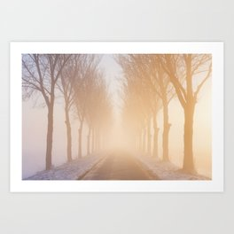 Road through foggy winter polder landscape in The Netherlands, sunrise Art Print