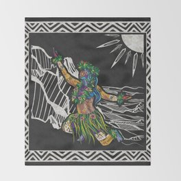 Polynesian Hula Dancer Tapa Print Throw Blanket