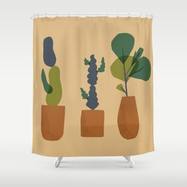 Patio with Cactus and Palm tree on terracota planters Shower Curtain