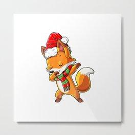 Christmas shirts for Kids Boys Girls Dabbing Fox Santa Gifts Metal Print
