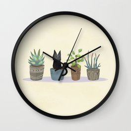 Three succulents and one kitten Wall Clock