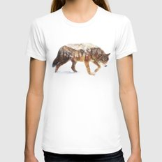 Arctic Wolf White MEDIUM Womens Fitted Tee