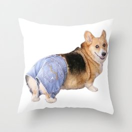 Corgi, Apple Bottom Jeans Throw Pillow