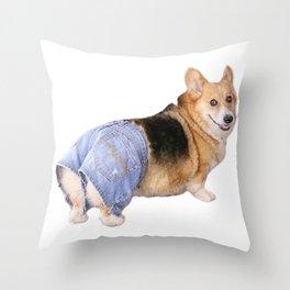 Corgi, Apple Bottom Jeans Throw Pillow