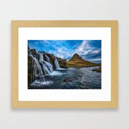 Kirkjufell, Iceland Waterfalls Mountain Landscape Framed Art Print