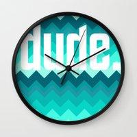 the dude Wall Clocks featuring dude. by Katrina Berlin Design