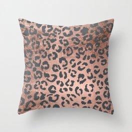Modern charcoal grey rose gold leopard pattern Throw Pillow