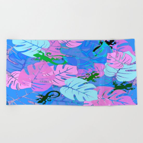 Monstera and Lizards in Blue Beach Towel