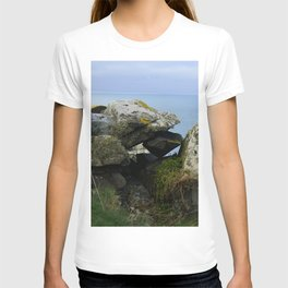 Lichen Covered Rocks in Front of the Blue Horizon T-shirt