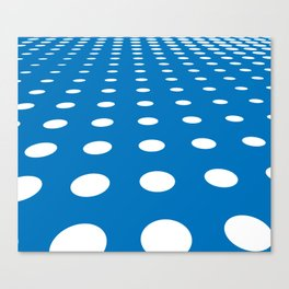 WHITE DOTS ON A BLUE BACKGROUND Abstract Art Canvas Print