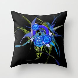 Blue flower black by Mia Niemi Throw Pillow