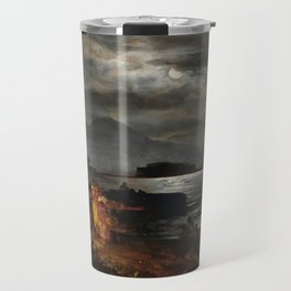 The Bay of Naples and Mount Vesuvius in the Moonlight by Oswald Achenbach Travel Mug