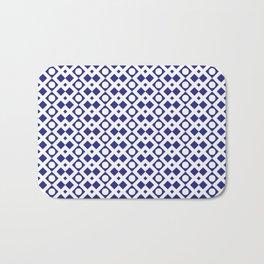 Geometric Pattern - Diamonds and Dots - Navy Blue & White Bath Mat