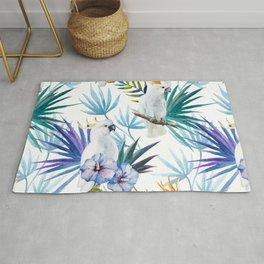 Tropical Cockatoo Watercolor Pattern Rug