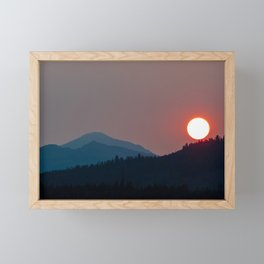 Fire on the Mountain // Smoky Red Sunset on the Peaks Framed Mini Art Print