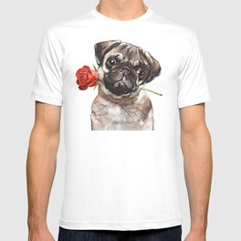 Pug with Red Rose T-shirt