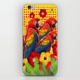 GREEN TROPICAL YELLOW MACAWS & RED YELLOW HIBISCUS iPhone Skin