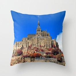 Autumn Shades of Mont Saint-Michel Throw Pillow