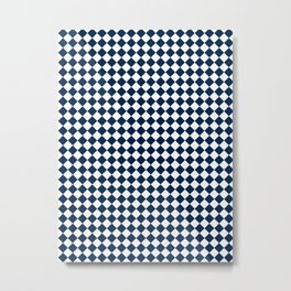 Small Diamonds - White and Oxford Blue Metal Print