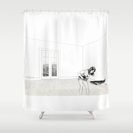 Pleasures of Merely Circulating Pencil drawing by Michigan artist Shower Curtain