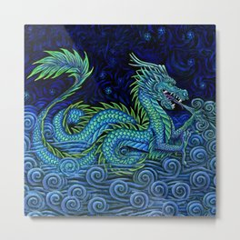 Chinese Azure Dragon Metal Print