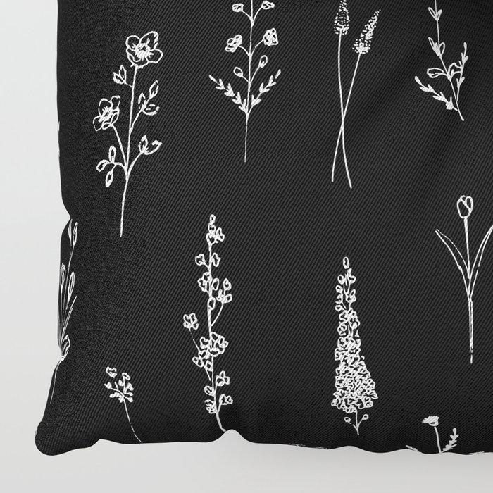 Black wildflowers Floor Pillow