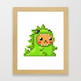 8bit Dinobear Framed Art Print