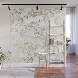 Vintage white faux gold roses floral Wall Mural