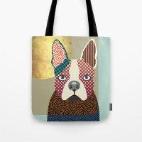 boston terrier Tote Bags featuring Boston Terrier  by Lanre Studio