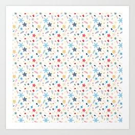 Christmas elements mix pattern Art Print