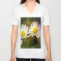 daisies V-neck T-shirts featuring Daisies by LoRo  Art & Pictures