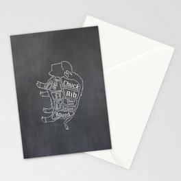 Buffalo Butcher Diagram (Meat Chart) Stationery Cards