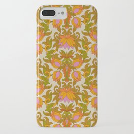 Orange, Pink Flowers and Green Leaves 1960s Retro Vintage Pattern iPhone Case