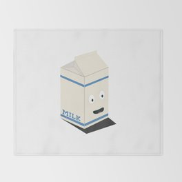 Cute kawaii milk carton Throw Blanket