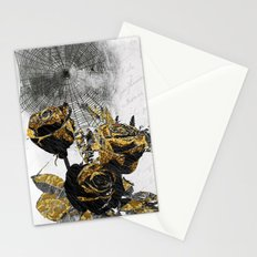 Flowers Bloom As Black As Night Stationery Cards