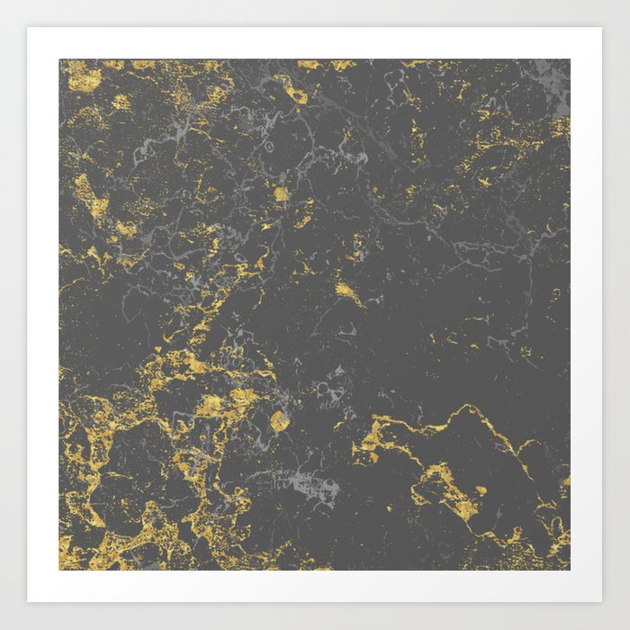 Gold marble concrete Art Print