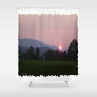 vermont Shower Curtains featuring Vermont Sunset over Green Mountains of Vermont by Vermont Greetings
