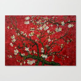 Abstract Daisy With Red Background Canvas Print