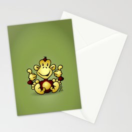 Manic Monkey with 4 thumbs up Stationery Cards