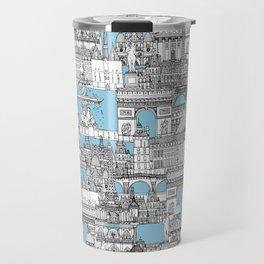 Paris toile cornflower blue Travel Mug