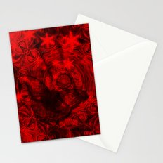 Butterfly and fractal in black and blood red Stationery Cards