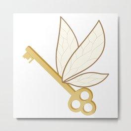 Winged Key Metal Print