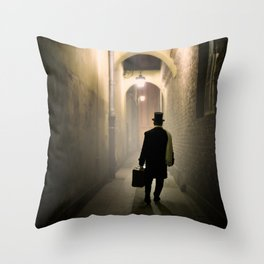 Victorian man with top hat Throw Pillow