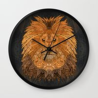 lion king Wall Clocks featuring King Lion by ArtLovePassion