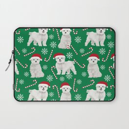 Maltese christmas festive dog breed holiday candy canes snowflakes pattern pet friendly dog art Laptop Sleeve