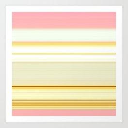 elegant pink gold beige white striped pattern Art Print