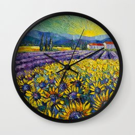 Sunflowers And Lavender Field Wall Clock